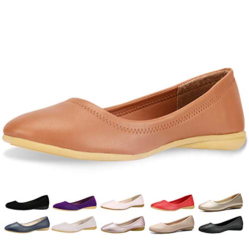 (CINAK Flats Shoes Women- Slip-on Ballet Comfort Walking Classic Round Toe Shoes (11B(M)US/CN43/10.4'', Brown) )