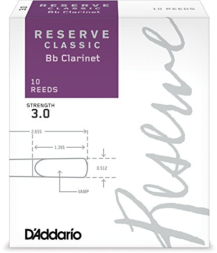 D'Addario Reserve Classic B♭ Clarinet Reeds, Strength 3.0 (10-Pack) - Thick Blank Reed Offers a Rich, Warm Tone, Exceptional Performance and Consistency - Ideal for Advanced Students or Professionals