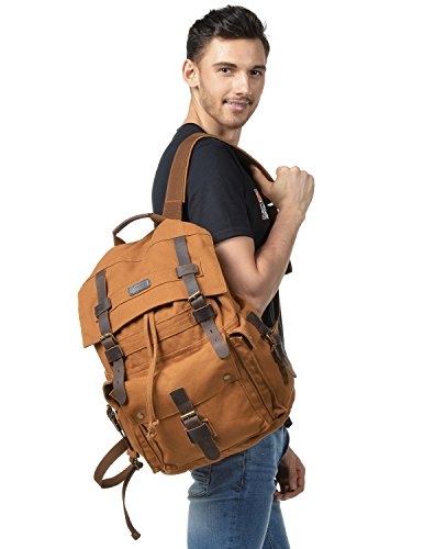 (Kattee Men's Leather Canvas Backpack Large School Bag Travel Rucksack Khaki)