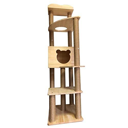 Cxjff Katze Klettergerüst Massivholz Katzenstreu Kratzbaum Haus große Katze springen Plattform Frühling Katzenspielzeug Villa Katze Kratzspalte Sisal Rack