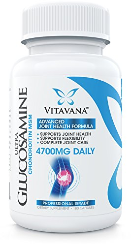 Vitavana Glucosamine Chondroitin MSM :: 4700mg Daily (180 Capsules) :: Advanced Joint Supplement Supports Flexibility and Healthy Joints :: Complete Joint Care Formula (6-Bottles) by Vitavana