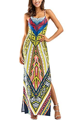 Mangas Maxi Florales Sin Amarillo Vestidos Vestido Africanos Tribales Mujeres xZ5vtTqww