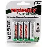 1 Card: 4pcs Tenergy Solar Tech AA 3.2v (14500 Size) 400mah Lifepo4 Rechargeable Batteries