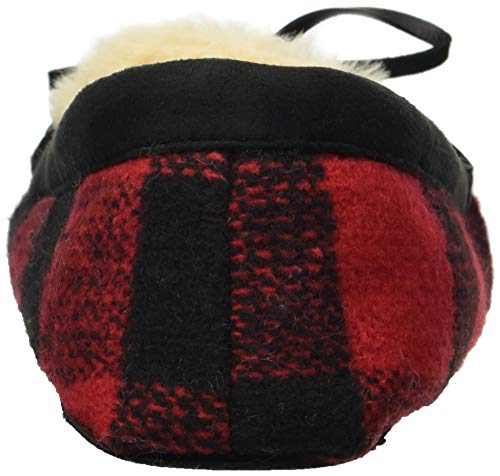 Red Dearfoams Plaid Moccasin Slipper Mixed Women's Material rvwqr1x