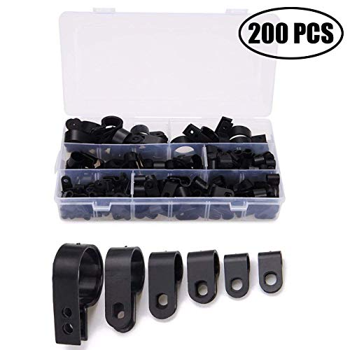 TIHOOD 200PCS Cable Clamp, Black Nylon Screws Plastic R-Type Cable Clamp Clips Fasteners Assortment for Cable Conduit 6 Sizes 5mm to 25mm ()