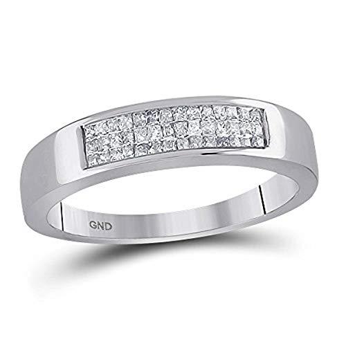 Roy Rose Jewelry 14K White Gold Womens Princess Invisible-Set Diamond Triple Row Band 1/4 Carat tw ~ Size 7