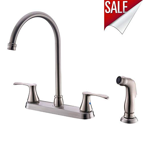 XFHome Kitchen Faucet with Sprayer High Arc Two Handle Brushed Nickel Kitchen Faucet with Side Sprayer, 4 Holes 8 Inch Centers Kitchen Sink Faucet ()