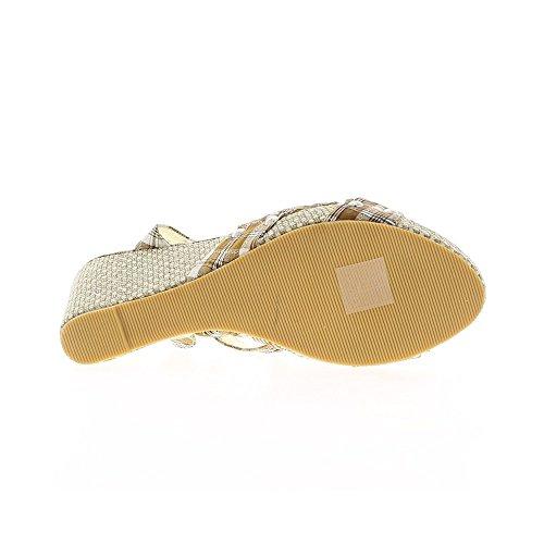 Cuneo Sandali donna castagne e bianco tacco 9,5 cm