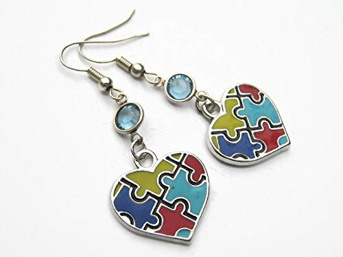 Autism Puzzle Heart Birthstone Earrings, Personalized Enameled Awareness Earrings, Autistic Jewelry, Colorful Gift