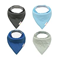 Alva Baby Bandana Bibs for Boys and Girls 4 Pack of Super Absorbent Baby Gift...