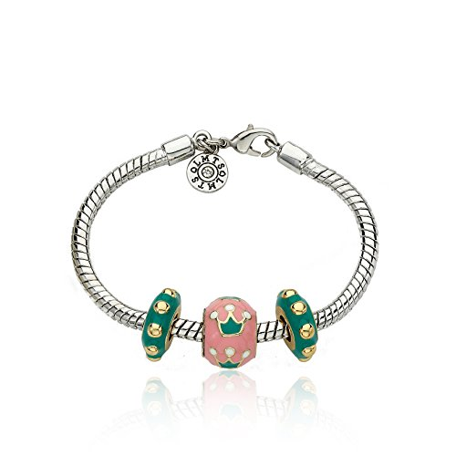 Little Miss Twin Stars Superstar Girls 3 Enamel Slider Bracelet Accented With Enamel Crowns 4.5