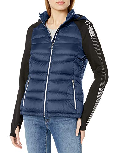 Tommy Hilfiger Womens Short Packable Down and Knit Logo Jacket