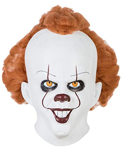 Pennywise Mask,Stephen King's It Chapter Two Mask,It Chapter Two Pennywise Mask Helmet with Wigs for Men Women -