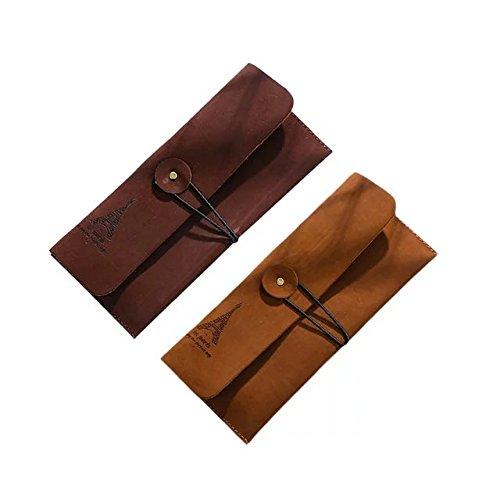 (Garrelett Eiffel Tower Pattern Retro Suede Leather Wallet Purse for Man & Women, Portable Mini Coin Card Keys Bag Case Easy Mount Pouch Hand Bag Holder (2PCS Brown and Dark Brown))