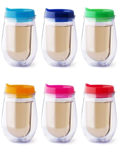 - Bev2Go Insulated 10 oz Tumbler Stemless Wine Glass with Lids 6 Pack Gift Set