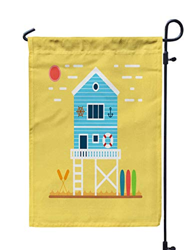 (Shorping Welcome Garden Flag, 12x18Inch Sea Side Landscape Waves Sunrise Clouds Cute Blue Striped House The Beach Sport Equipment Attributes for Holiday and Seasonal Double-Sided Printing Yards)