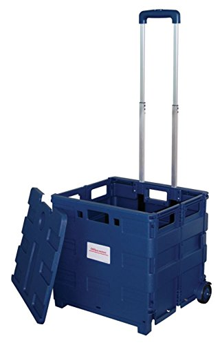 Office Depot Mobile Folding Cart with Lid, 16in.H x 18in.W x 15in.D, Blue, 50803
