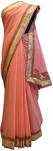 (SMSAREE Pink Designer Georgette (Viscos) Hand Embroidery Zari Sequence Thread Work Saree Sari AZC623)