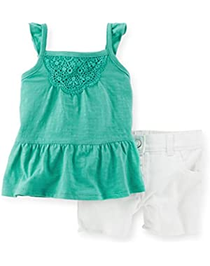 Carters Baby Girl 2-Piece Tank & Short Set