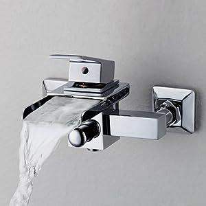 Lightinthebox Single Handle Wall Mount Centerset Bathroom Vessel Sink  Waterfall Faucet Chrome Widespread Waterfall Bathroom Bathtub Mixer Taps  Roman Tub ...