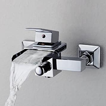 Single Handle Wall Mount Centerset Bathroom Vessel Sink Waterfall ...
