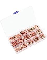 Copper Washer Assortment Set, 300 Pieces 12 Sizes M5 M6 M8 M10 M12 M14 M16 M20 Assorted Copper Metric Sealing Washers Kit