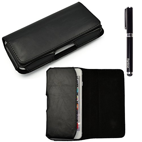 Ranboo Universal well made Horizontal Man's PU Leather Belt Clip Holster Mobile phone Pouch Case/ Magnetic Flap for iphone 6 Plus ,S5 ,LG G3,Sony Xperia Z2 Z3 ,HTC ONE M8 ,Samsung Galaxy Note 4,Note 3,Note Edge,Note 2 and more other cellphone + 2 in 1 Stylus pen (Black)