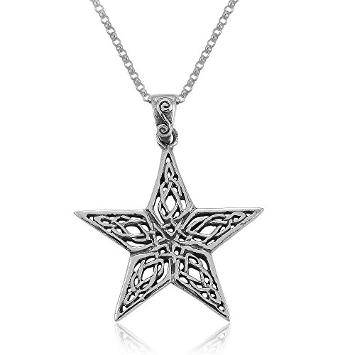 MIMI Sterling Silver Celtic Pentacle Pentagram Wiccan Pagan Pendant Necklace, 18 inches