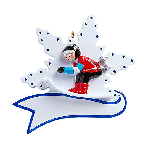 Personalized Snow Skier Christmas Tree Ornament 2019 - Athlete Winter Outfit Flake Alpine Downhill Sport Active Olympic Paralympic Game Ride Slope Teacher Hobby Boy Girl Year - Free Customization