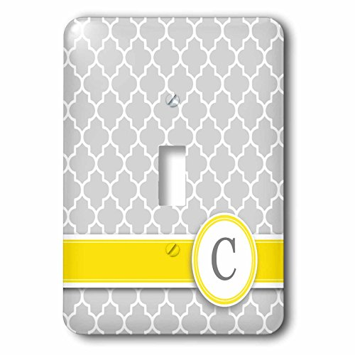 3dRose LLC lsp_154569_1 Your Personal Name Initial Letter C Monogrammed Grey Quatrefoil Pattern Personalized Yellow Gray Single Toggle Switch