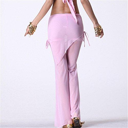 Danza del vientre Disfraz Set Exotic Bandage Bra+Chiffon Split Pantalones Pink