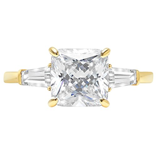 Asscher Baguette 3-Stone Classic Solitaire Designer Wedding Bridal Statement Anniversary Engagement Promise Ring 14k Yellow Gold, 3.7ct, 4.5 by Clara Pucci (Image #3)