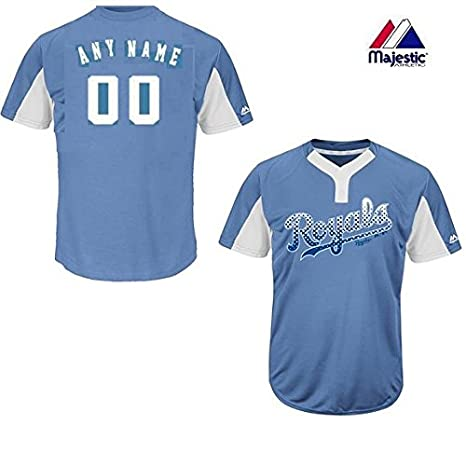 9524fe343 Amazon.com : Majestic Lt Blue/White 2-Button Cool-Base Kansas City Royals  Blank or Custom Back (Name/#) MLB Officially Licensed Baseball Placket  Jersey : ...
