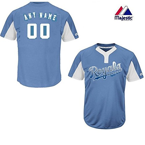 (Majestic Custom Youth XL Kansas City Royals 2-Button Placket Cool-Base MLB Licensed Jersey)