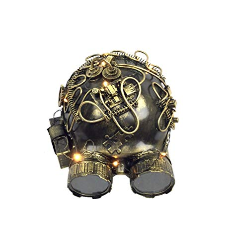 ampunk Gold Helmet LED Mask with Goggles, Light Up Vintage Victorian Style Retro Punk Rustic Gothic Motorcycle Pilot Aviator Eyewear Headgear Costume Accessories ()