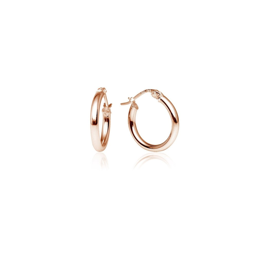 LOVVE Rose Gold Flashed Sterling Silver High Polished Round-Tube Click-Top Hoop Earrings, 2x15mm by Lovve (Image #1)