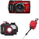 Olympus TG-5 - Cámara digital (ultraresistente, sumergible, vídeos en 4K, 4 modos de macro, WiFi integrado) color rojo + Carcasa acuática para cámara Tough TG-5 + Correa flotable de muñeca CHS-09 Gama TG