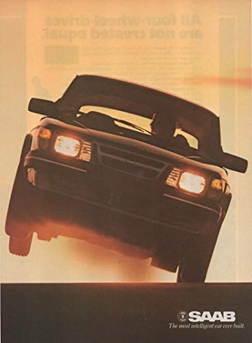 """Magazine Print ad: 1985 Saab 900 Turbo, 900S, 3 and 4 door models, Intercooled 16-valve,""""In Any Other Car, This Much Power Would be Irresponsible"""", 2 pages"""