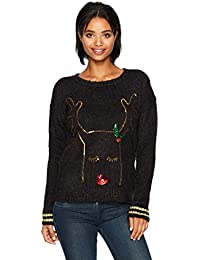Women's L/s Feather Yarn Crew Neck W/Sequins