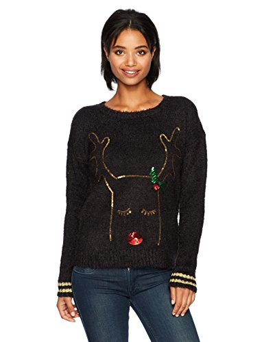 Feather Yarn Crew Neck W/Sequins