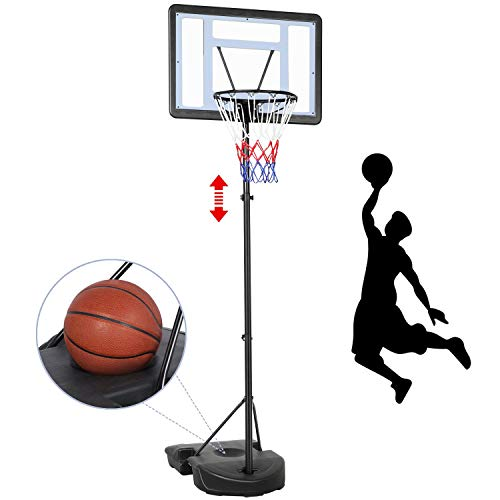 Yaheetech 7.2-9.2ft In-Ground Basketball System Portable Removeable Basketball Hoop Outdoor/Indoor Adjustable Height Basketball Set for Kids/Youth/Teenagers