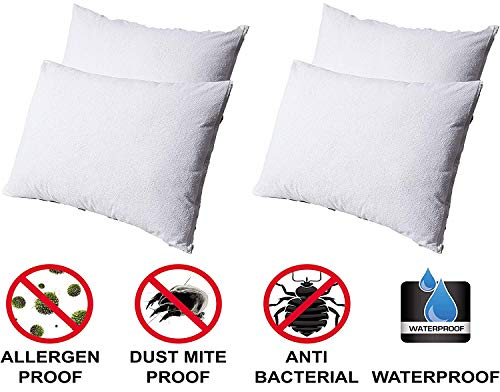 Pillow Protectors Waterproof 4 Pack Standard Zip Cotton White Terry Bed Bug Proof Encasement Pair Anti Allergy Anti Bacterial Anti Dust Mite Washable Long Life Soft Non Pvc Breathable Fabric - Pack Case Bed