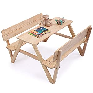 JAXPETY Kids Table Bench Set Children Wooden Picnic Bench Play Seat W/Backrest