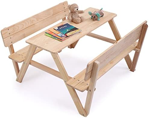 Fine Amazon Com Solid Natural Wood Kids Picnic Table With Bench Pabps2019 Chair Design Images Pabps2019Com