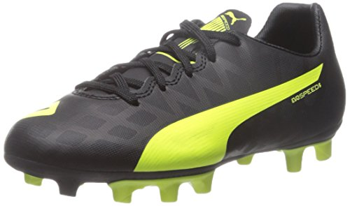 Puma evoSPEED 5.4 FG Jr Sneaker (Little Kid/Big Kid) Black/Safety Yellow