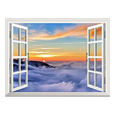 Removable Wall Sticker Wall Mural Majestic View of Sea of Clouds at Sunrise Creative Window View Wall Decor, Made With Love, Dazzling Piece