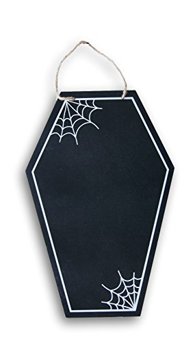 Halloween Tombstone Quotes (Halloween Coffin Tombstone Shaped Spiderweb Accented Chalkboard with Jute Hanging String and Chalk)