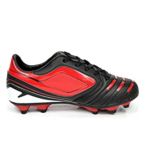 DREAM PAIRS 151028 Boy's Athletic Light Weight Lace Up Outdoor Fashion Sport Cleats Soccer Shoes (Toddler/Little Kid/Big Kid) Black-Red-Wht Size 5