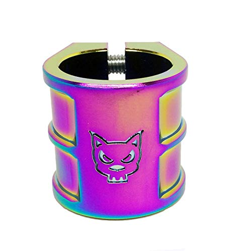 Team Dogz 35mm Oversized Double Stack Scooter Clamp in Neochrome. Suitable for HIC & ICS Compression (Rainbow) (Team Double Clamp)