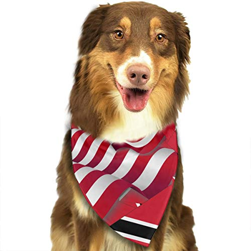 ZZJIAK Dog Bandana Scarf Trinidad and Tobago Flag with America Flag Triangle Bibs Printing Kerchief Set Accessories Dogs Cats Pets]()